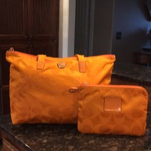 Coach Foldable Travel Duffel - Orange/Tangerine